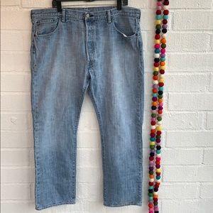 Levi's 501 Button Fly Light Blue Wash Jeans
